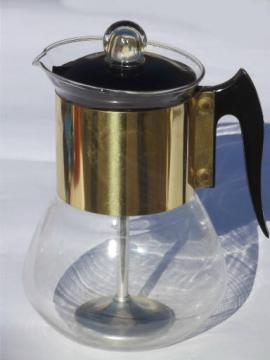 60s vintage Percmaster glass carafe coffee maker, stovetop perculator