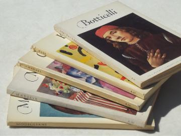60s vintage pocket library of art, color art prints paperback books