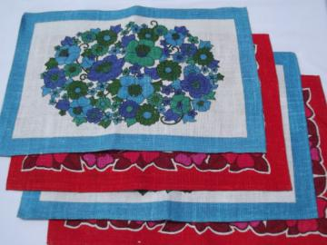 60s vintage printed linen placemats, hand-print flowers red and blue