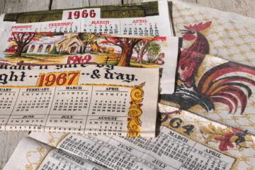 60s vintage printed linen tea towels, kitchen calendar towel lot w/ retro prints