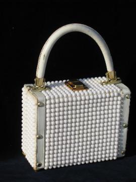 60s vintage purse, retro mod white box bag handbag w/ plastic beads