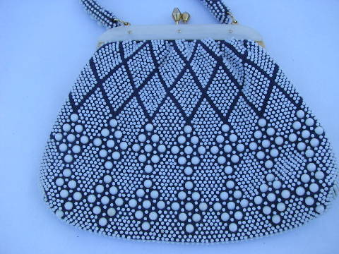 60s vintage purse, retro satchel handbag w/ plastic beads textured navy & white