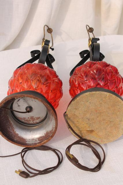 60s Vintage Retro Flame Red Glass Lamps W Gothic Black Wrought Iron Bases