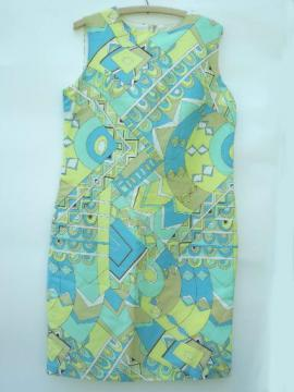60s vintage shift dress, op-art geometric print, preppy blue & yellow