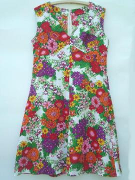 60s vintage shift, retro poly crepe floral print summer sleeveless dress