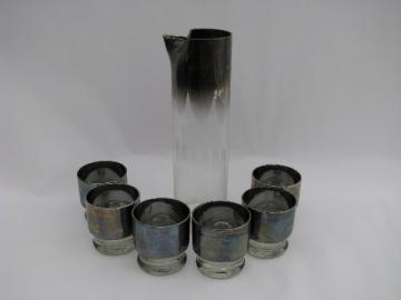 60s vintage silvered glass cocktail set, pitcher & drinks glasses