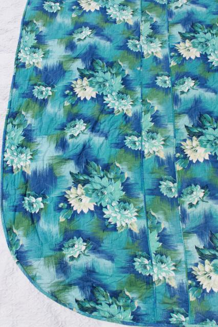 60s vintage soft quilted cotton bedspread, water lilies floral print in blue & green