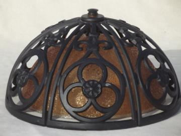 60s vintage Spanish gothic style flush mount ceiling light fixture w/ amber glass shade