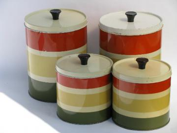 60s vintage striped metal kitchen canisters, retro canister set