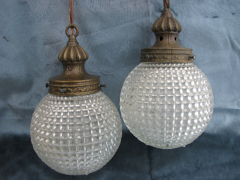 60s vintage swag lamp, hanging light w/ double pendant globes