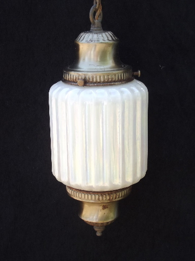 60s Vintage Swag Lamp Hanging Light W Double Pendant Opal