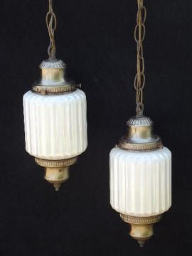 60s vintage swag lamp hanging light w/ double pendant opal glass shades