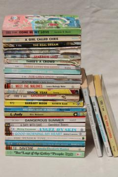 60s vintage teen girl romances, young adult novels, pulp cover art paperback books lot
