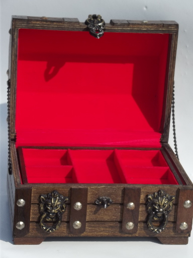 60s Vintage Treasure Trunk Pirate Chest Jewelry Box For