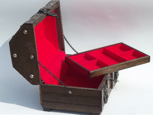 60s vintage treasure trunk pirate chest jewelry box for ...