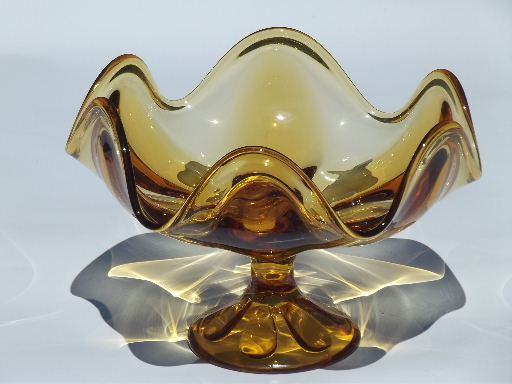 60s vintage Viking epic line compote bowl, honey gold amber wheat color