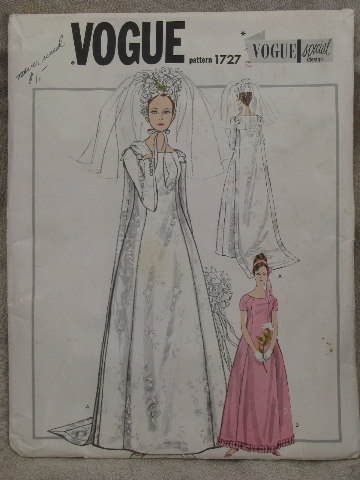 60s vintage Vogue bridal gown sewing pattern, mod sheath wedding dress