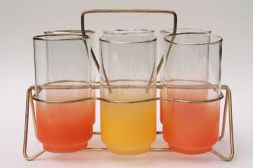 60s vintage wire rack w/ drinking glasses, retro orange & yellow blendo glass tumblers