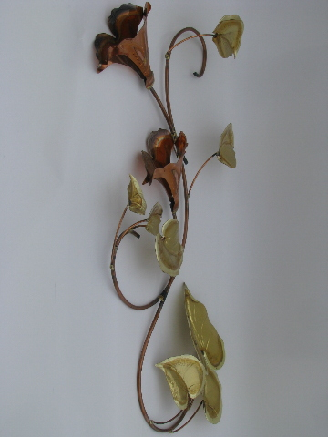 60s Vintage Wrought Metal Wall Art Sculpture Branches Of
