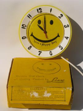 60s vintage yellow smiley face wall clock, happy retro Lux novelty clock