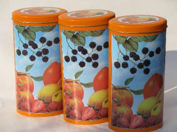 60s-70s Italian metal kitchen canisters fruit print tins vintage Italy