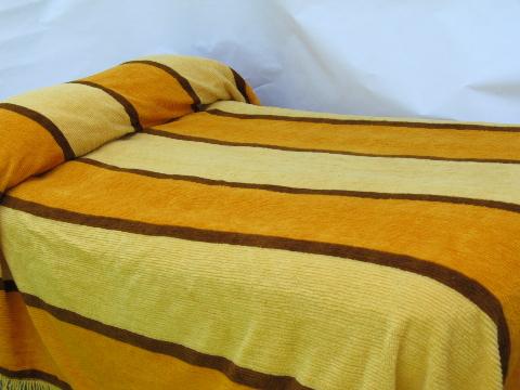60s 70s Retro Mod Gold And Brown Striped Fuzzy Chenille