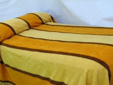 60s-70s retro mod gold and brown striped fuzzy chenille bedspread