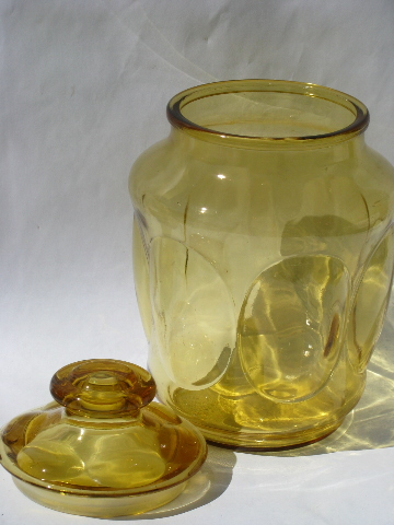 60s 70s Vintage Amber Gold Glass Canister Jars Kitchen