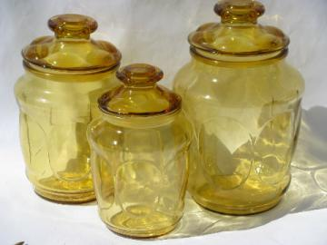 60s-70s vintage amber gold glass canister jars, kitchen canisters set