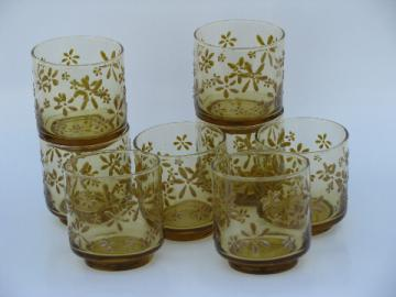 60s-70s vintage barware, set of 8 drinks glasses, retro amber daisies!