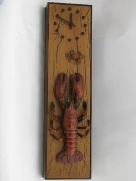 60s-70s vintage wall clock w/ lobster and crab, rustic driftwood plastic