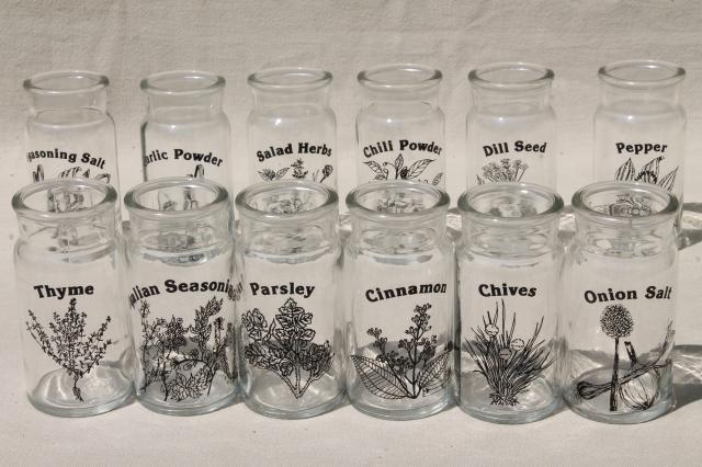 70s 80s mod kitchen glass spice jars set, herbs & spices ...