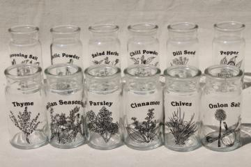 70s 80s mod kitchen glass spice jars set, herbs & spices line drawings art