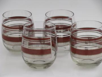 70s 80s retro Georges Briard signed cocktail glasses, roly-poly shape