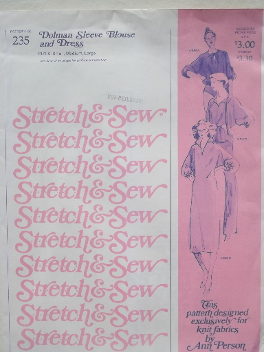 70s 80s Retro Sewing Patterns Vintage Stretch Sew Pattern Lot For