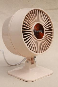 70s 80s vintage Galaxy electric desk or table fan, small mod plastic fan w/ amber blades