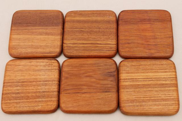 70s 80s vintage GoodWood teak wood coasters set & coaster caddy serving tray