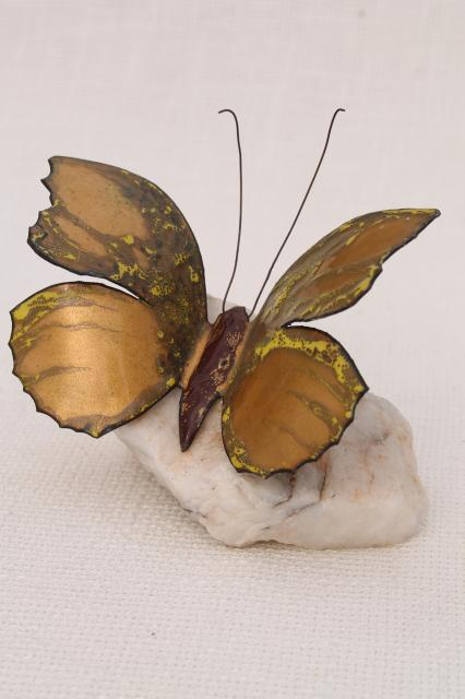 70s 80s vintage art metal sculpture, enamel copper butterfly paperweight natural crystal