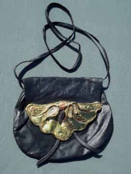 70s 80s vintage Brazilian leather pouch purse shoulder bag w/ gemstones