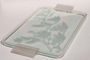 70s 80s vintage etched glass serving tray w/ lucite frame, plastic handles