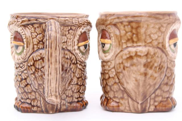 70s 80s vintage owl tree mug rack w/ handmade ceramic owls mugs or coffee cups