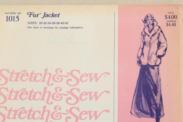 70s 80s vintage sewing patterns, retro fun faux fur jacket, belted trench coat multi size ladies