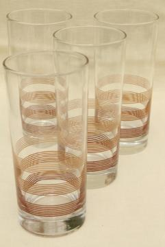 70s 80s vintage tall glass cooler iced tea glasses w/ mod ombre shaded brown rings