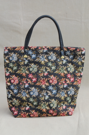 70s 80s Vintage Tapestry Fabric Tote Bag Purse Or Handbag