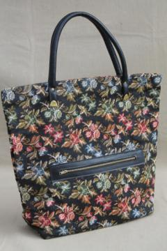 70s 80s vintage tapestry fabric tote bag, purse or handbag w/ zip pocket