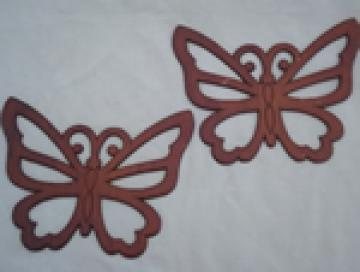 70s Burwood vintage wall art butterflies, retro hippie wall decor