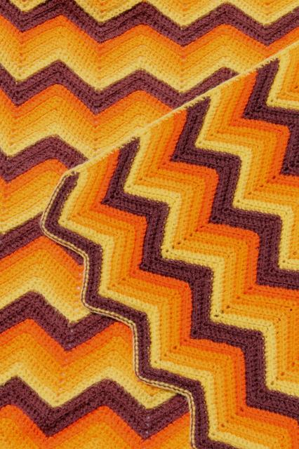 70s Groovy Crochet Blankets Chevron Stripes Ripple