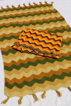 70s groovy crochet blankets, chevron stripes ripple afghans, vintage earth tones harvest colors