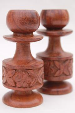 70s hippie bohemian vintage import shop carved wood candle holders, sheesham candlesticks