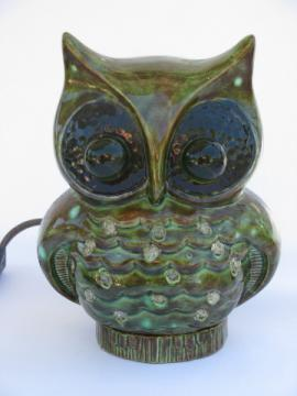 70s hippie vintage handmade ceramic big-eyed owl light, retro TV lamp